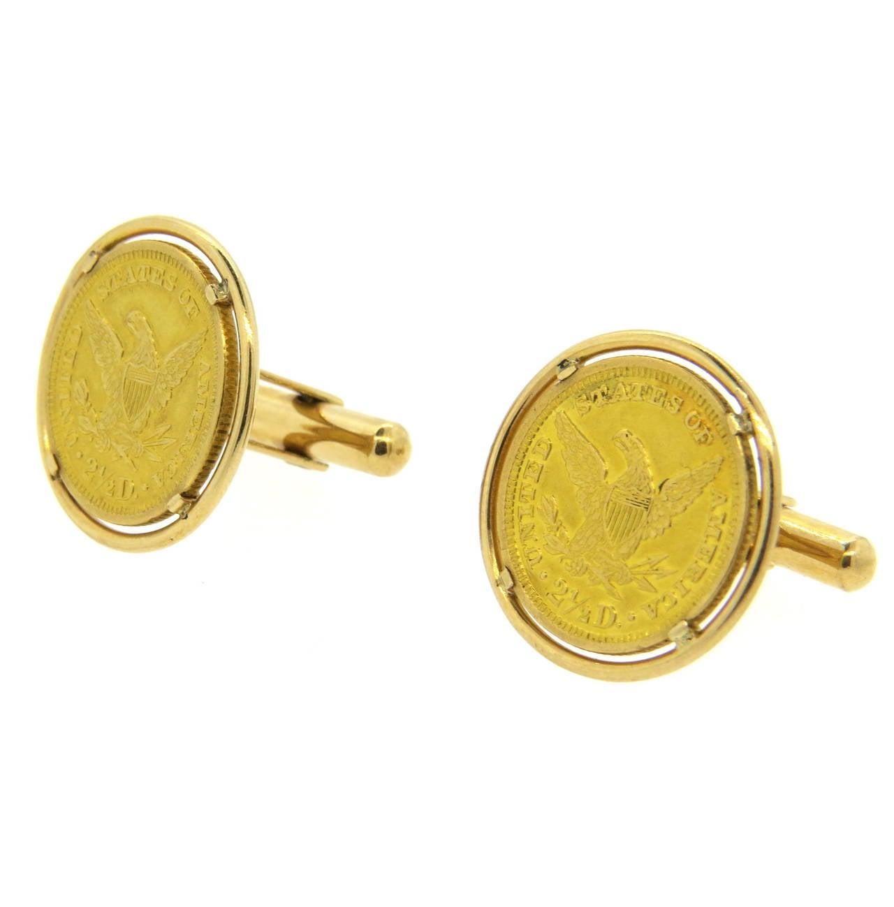 1904 US 2.5 Dollar Gold Coin Cufflinks at 1stdibs