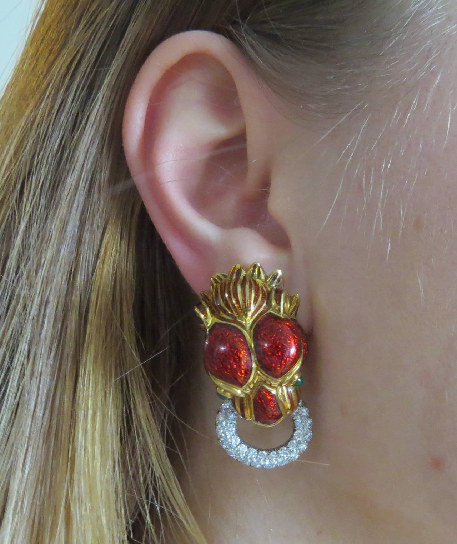 David Webb Impressive Enamel Emerald Diamond Gold Platinum Earrings 5
