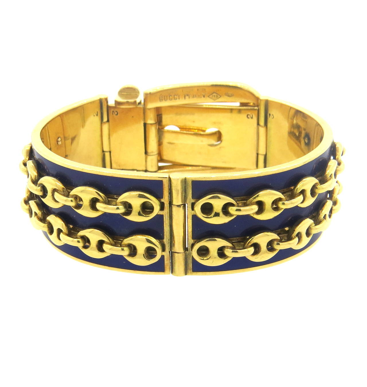 Gucci Blue Enamel Gold Buckle Bracelet In Excellent Condition For Sale In Lahaska, PA
