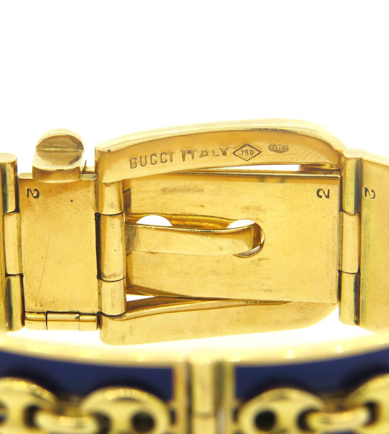 Women's Gucci Blue Enamel Gold Buckle Bracelet For Sale