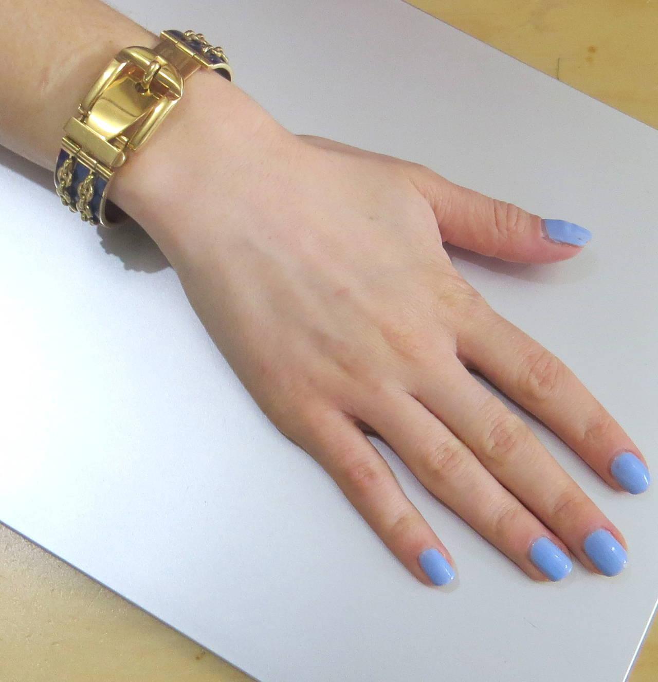 Gucci Blue Enamel Gold Buckle Bracelet For Sale at 1stdibs