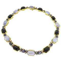 Fine Gold Onyx Iolite Chalcedony Diamond Necklace