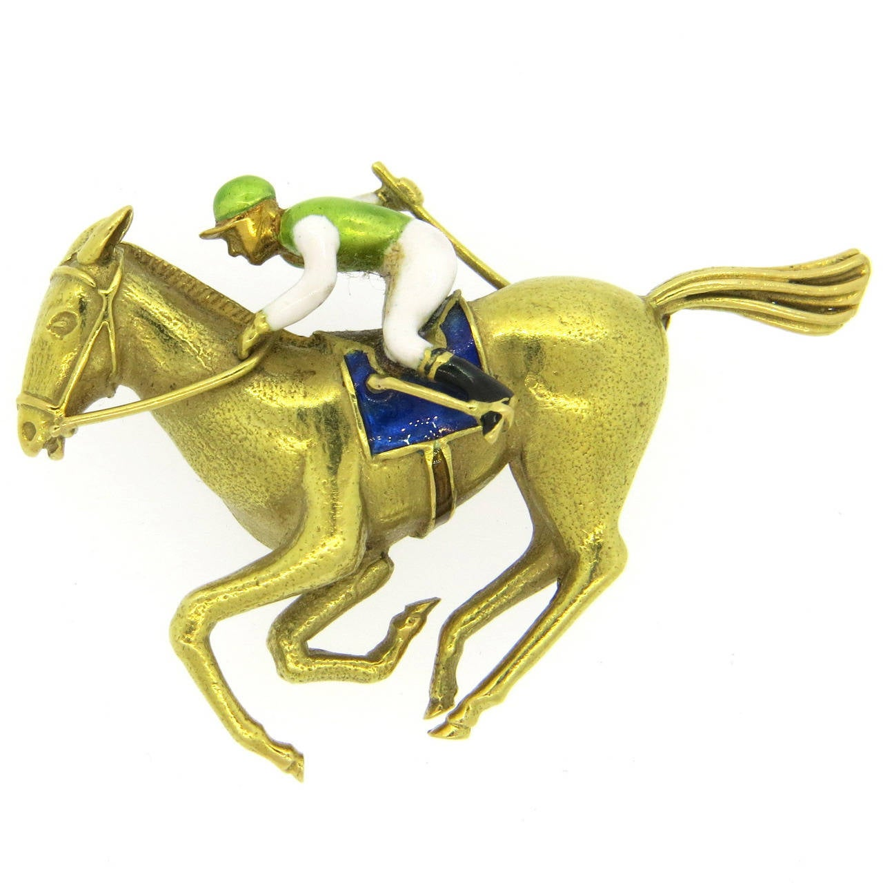 Enamel Gold Horse and Jockey Brooch Pin