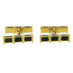 1970s Green Enamel Gold Cufflinks