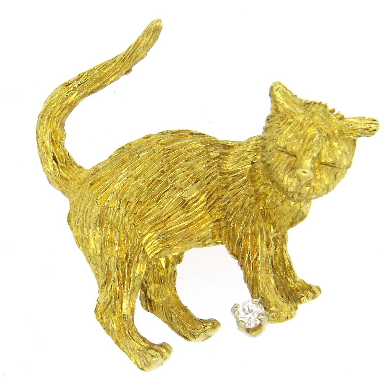 Whimsical Brushed Gold Diamond Cat Brooch 1