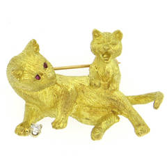 Whimsical Ruby Diamond Gold Cat Brooch Pin
