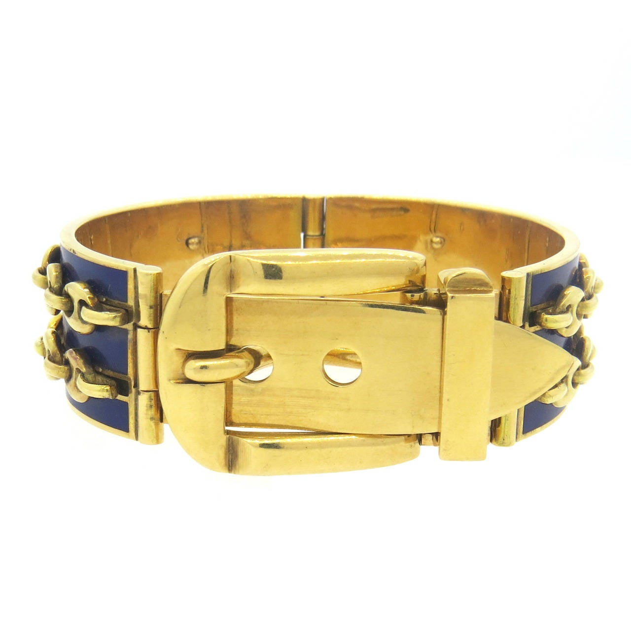 Gucci Blue Enamel Gold Buckle Bracelet