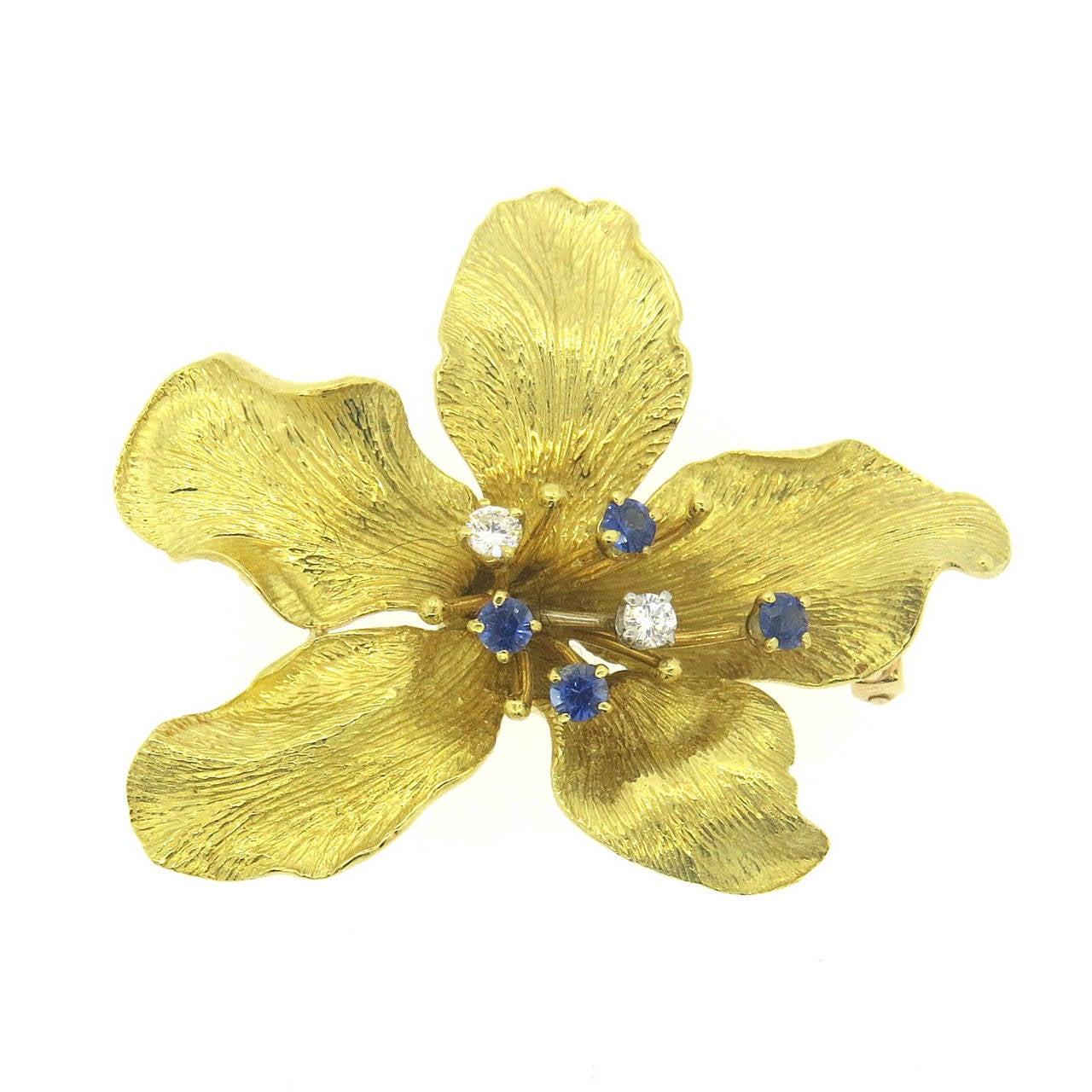 Whimsical Sapphire Diamond Gold Flower Brooch Pin