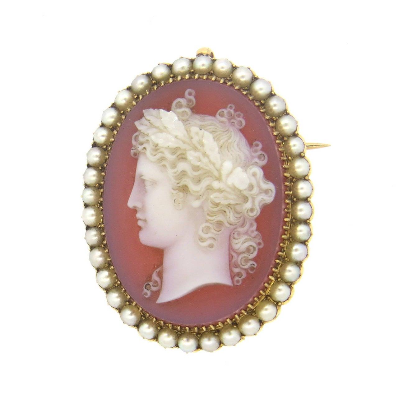 impressive antique pearl cameo brooch pendant