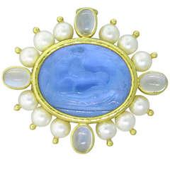 Elizabeth Locke Intaglio Venetian Glass Pearl Moonstone Brooch Pendant