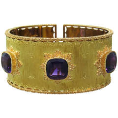 Buccellati Gold Amethyst Cuff Bracelet