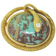 Krementz & Co Turquoise Diamond Snake Gold Brooch Pendant