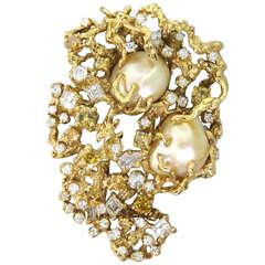 Important Arthur King South Sea Baroque Pearl Diamond Brooch Pendant