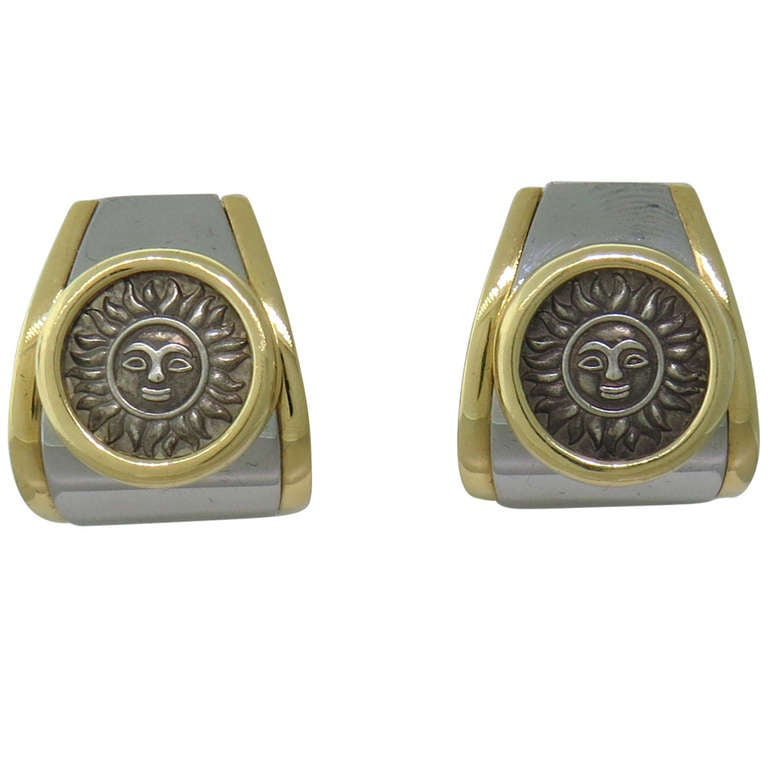 Marina B Gold Silver Sun Coin Earrings 1