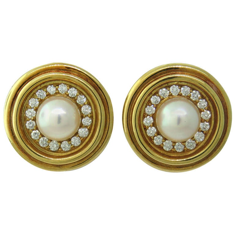 mikimoto gold pearl earrings at 1stdibs