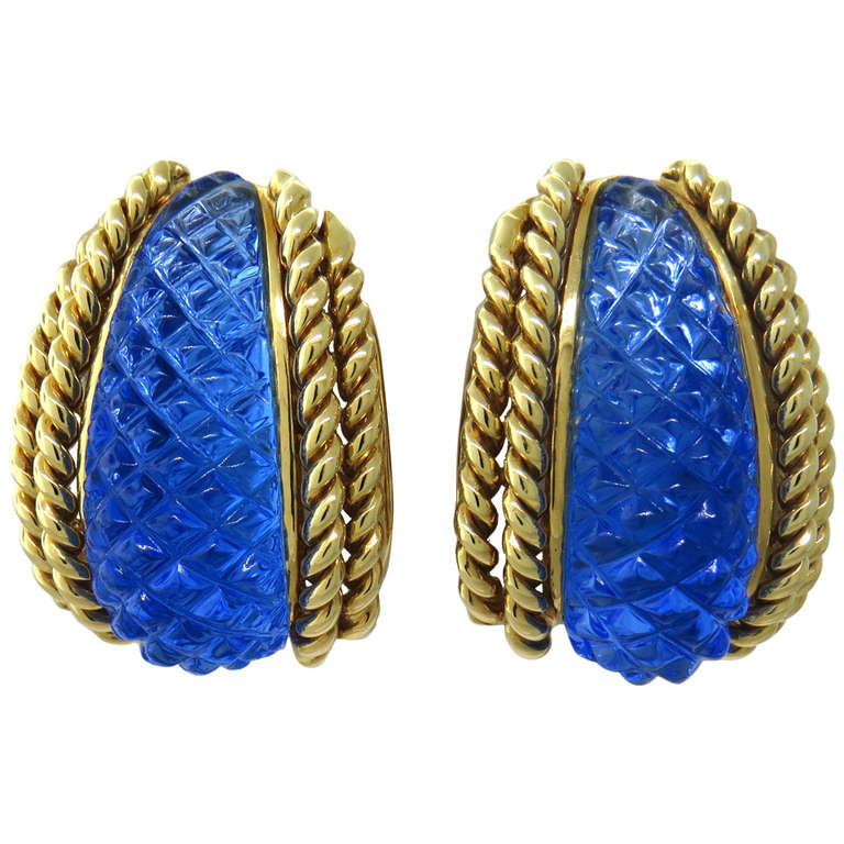 Sabbadini Gold Carved Crystal Earrings For Sale