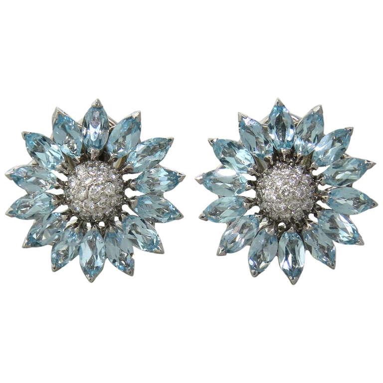 Asprey Daisy Heritage Aquamarine Diamond Earrings For