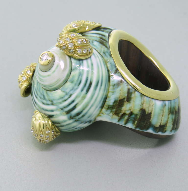 unique gold seashell wood cocktail ring at 1stdibs