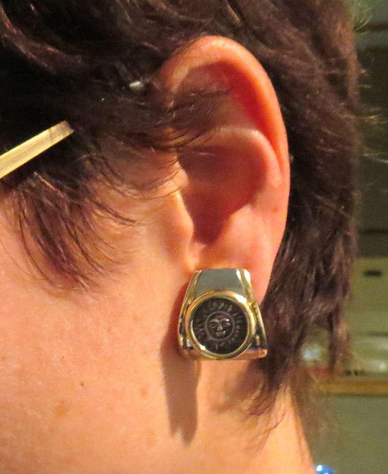 Marina B Gold Silver Sun Coin Earrings 4