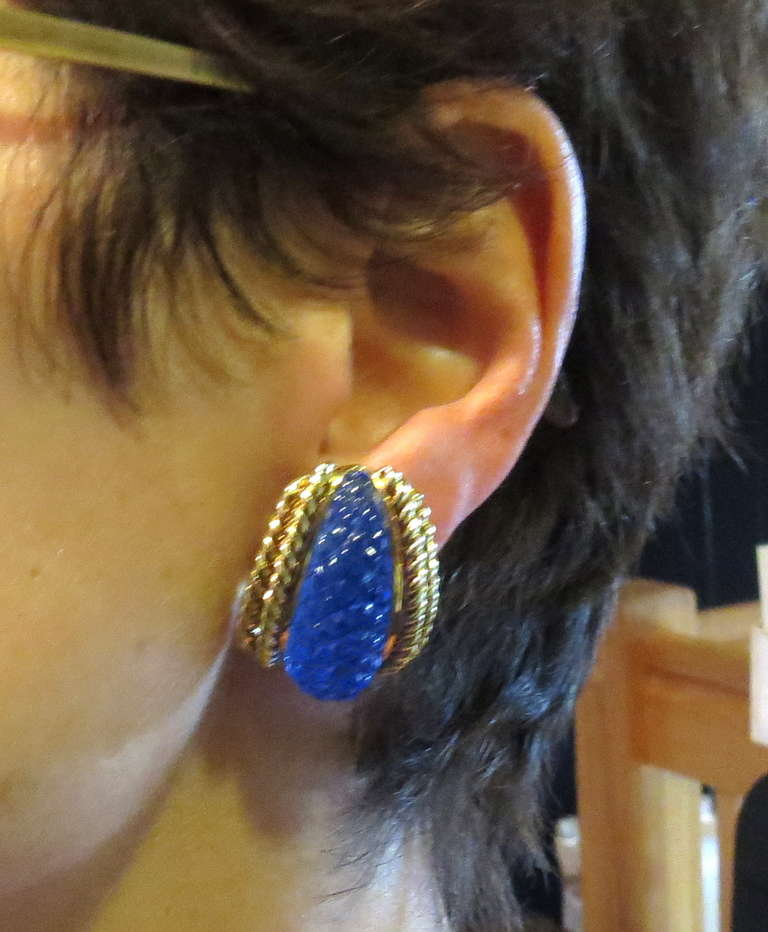 Sabbadini Gold Carved Crystal Earrings 4