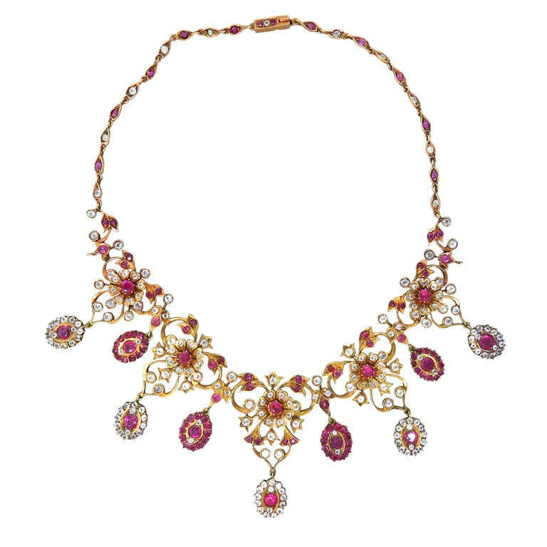 antique pendant necklace beautiful ruby with gold jewelry set and pearls img
