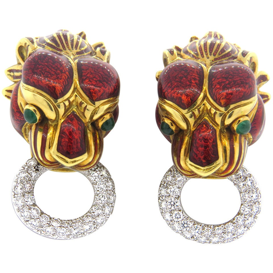 David Webb Impressive Enamel Emerald Diamond Gold Platinum Earrings 1
