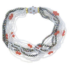 Trianon Chalcedony Pearl Tourmaline Bead Torsade Necklace