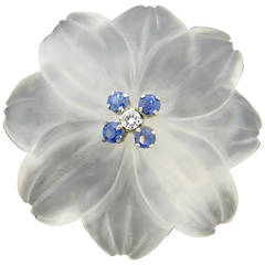 Frosted Crystal Sapphire Diamond Gold Flower Brooch