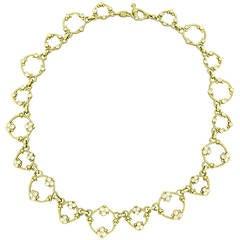 Modern Judith Ripka Gold Diamond Circle Link Toggle Necklace