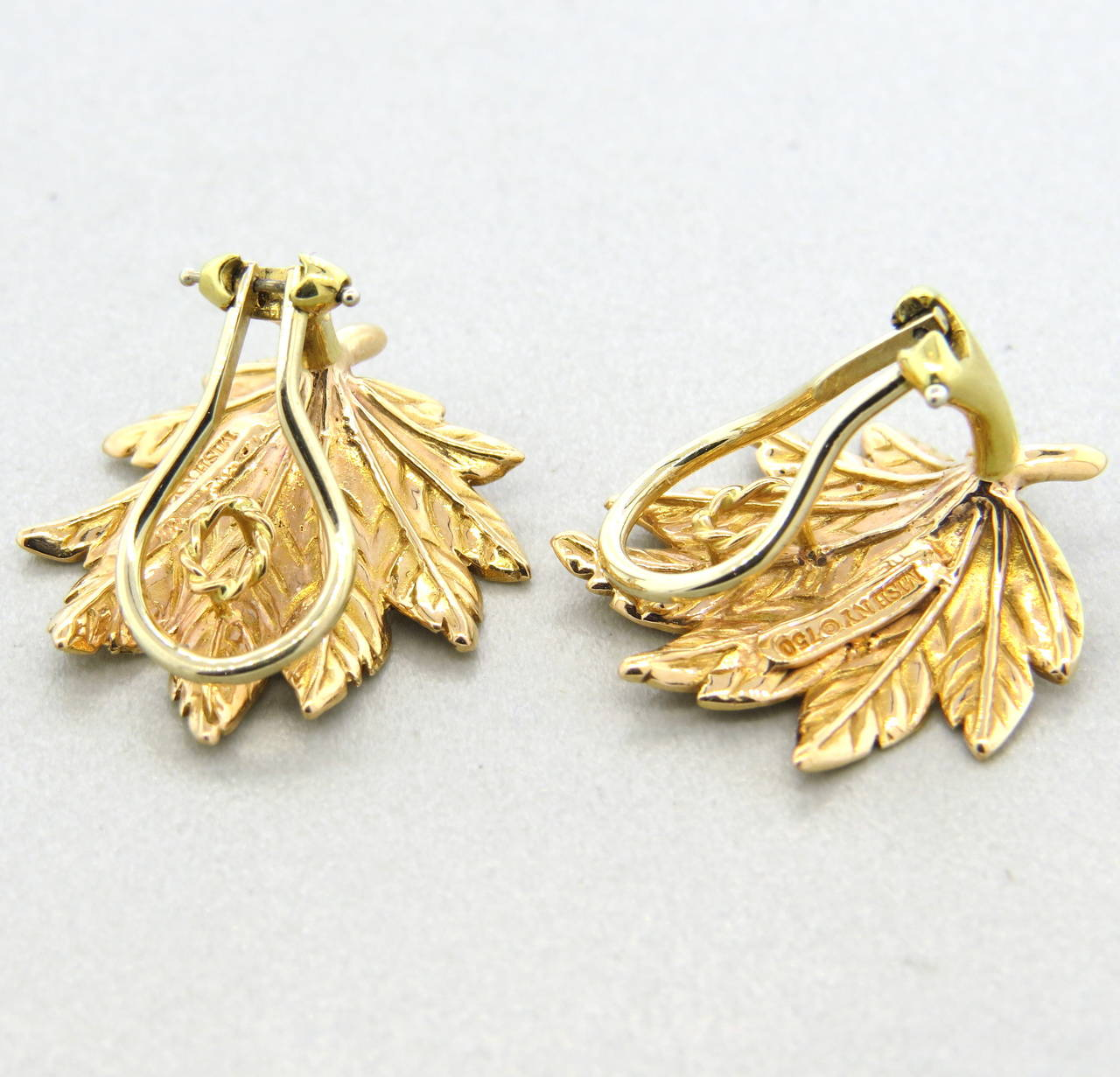 Mish New York Leaf Motif Gold Earrings 2