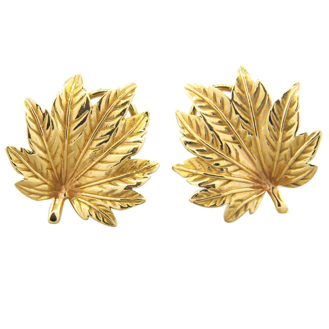 Mish New York Leaf Motif Gold Earrings 1