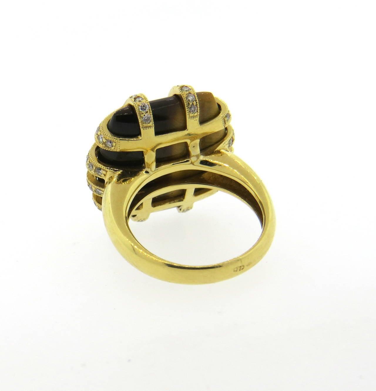 modern tiger s eye gold ring at 1stdibs