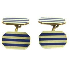 Mid Century Gold Blue Enamel Cufflinks
