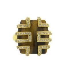 Modern Tiger's Eye Diamond Gold Ring