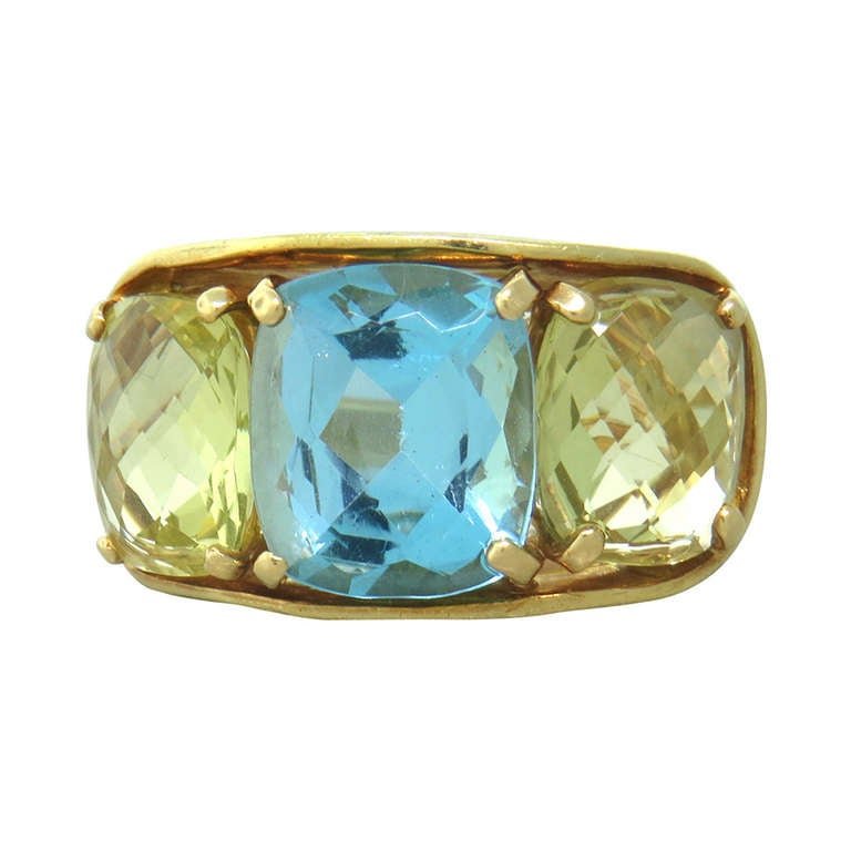 maz yellow gold citrine blue topaz ring at 1stdibs