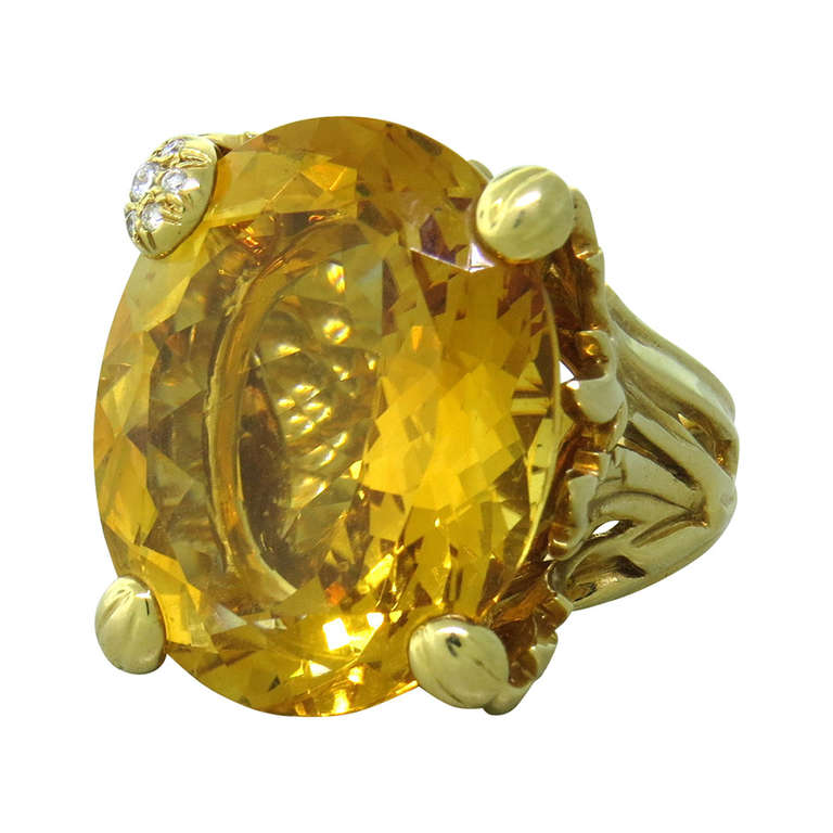 """Christian Dior """"Miss Dior"""" Gold Large Citrine Diamond Cocktail Ring"""
