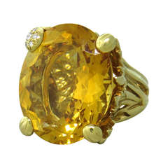 "Christian Dior ""Miss Dior"" Gold Large Citrine Diamond Cocktail Ring"