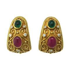 1980s Diamond Ruby Emerald Gold Half Hoop Earrings