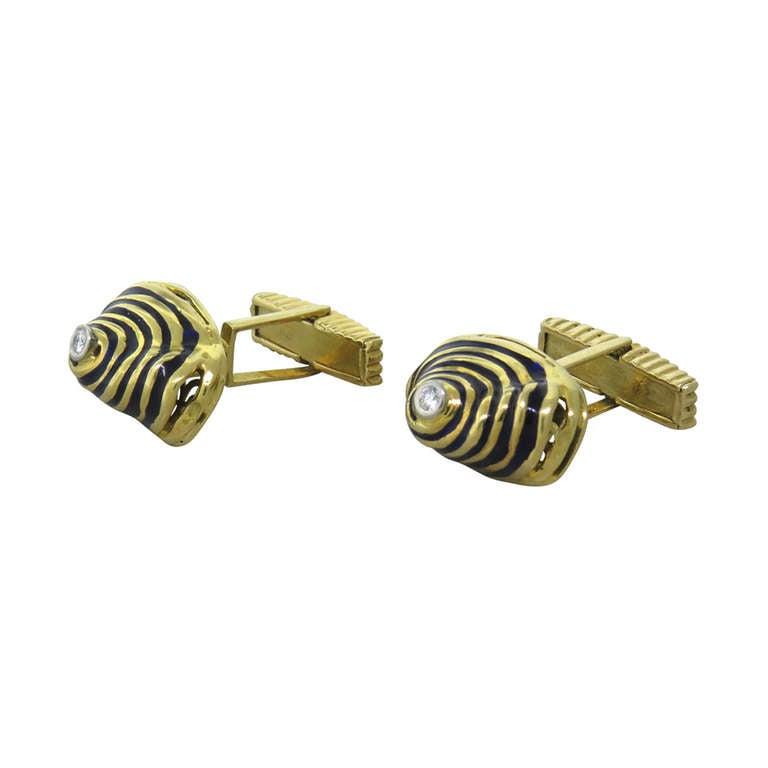 Unusual Gold Blue Enamel Diamond Cufflinks