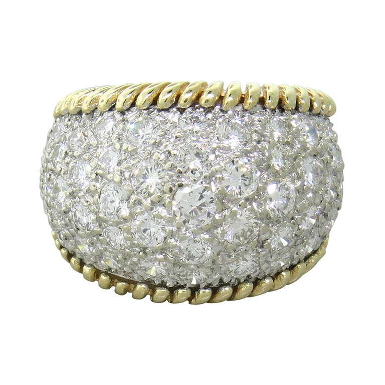 1970s Gold Diamond Dome Ring