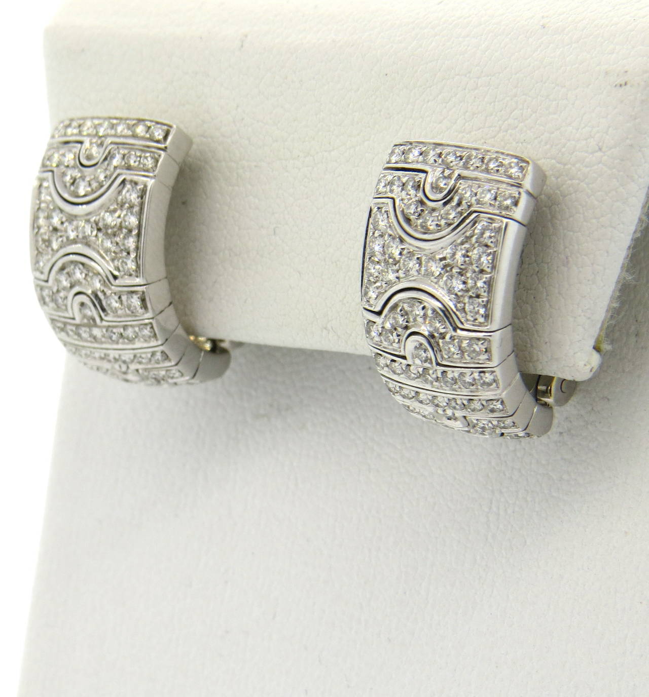 Bulgari Paesi Diamond Gold Half Hoop Earrings In Excellent Condition For Lahaska Pa