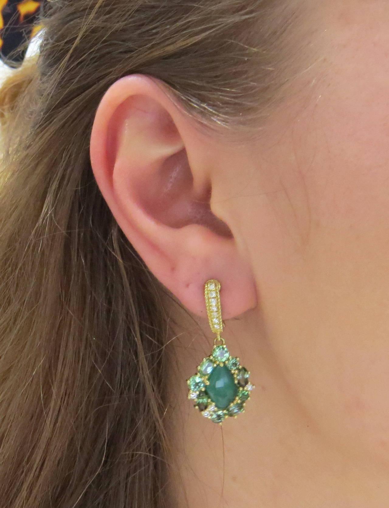 Judith Ripka Green Chalcedony Gemstone Diamond Drop Earrings 3