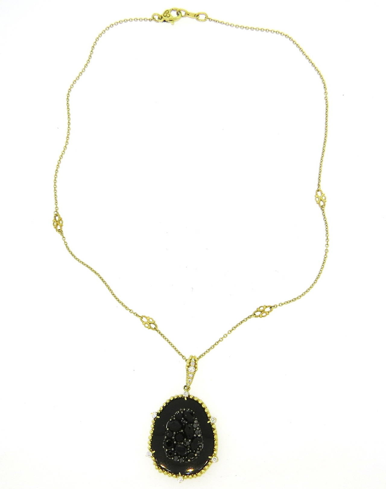 Judith ripka oasis gold onyx diamond pendant necklace at 1stdibs an 18k yellow gold necklace featuring a pendant set with approximately 022ctw of g judith ripka aloadofball Images