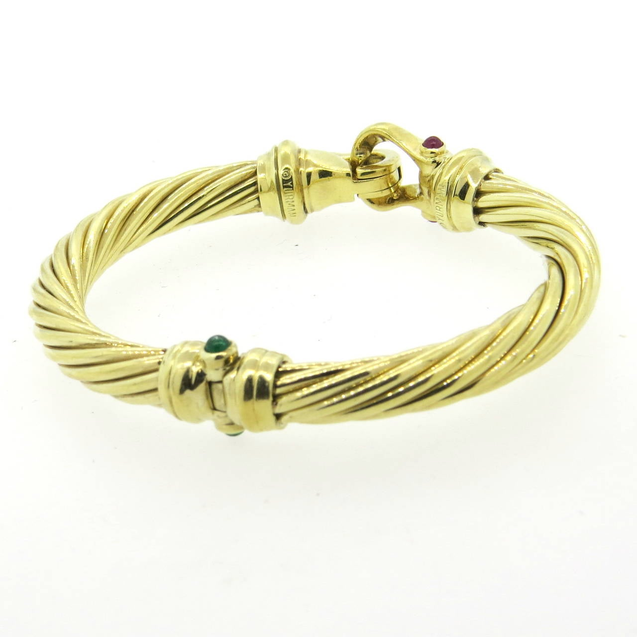 David Yurman Emerald Ruby Gold Cable Buckle Bangle Bracelet In Excellent Condition For Lahaska