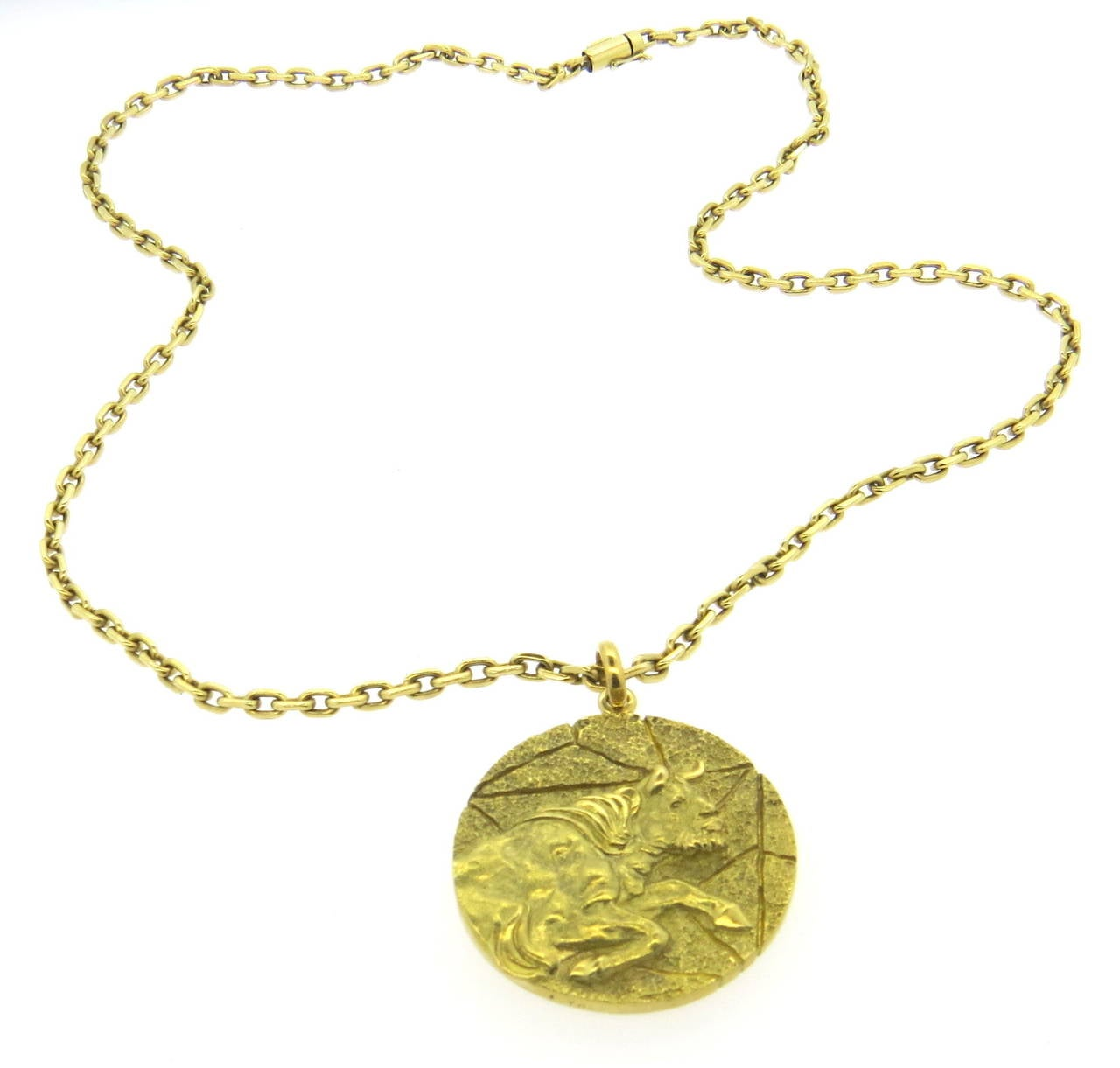 1970s and co gold taurus zodiac pendant necklace