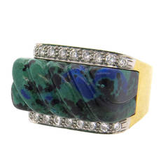 David Webb Carved Azurite Diamond Gold Platinum Ring