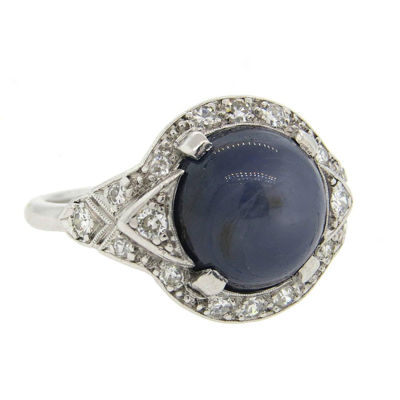 antique platinum sapphire cabochon ring at