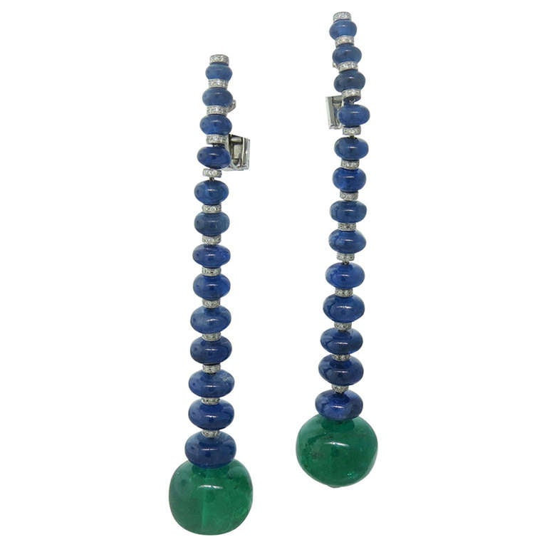 Impressive De Grisogono Gold Sapphire Emerald Diamond Earrings