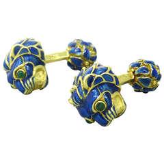 David Webb Gold Emerald Enamel Lion Head Cufflinks