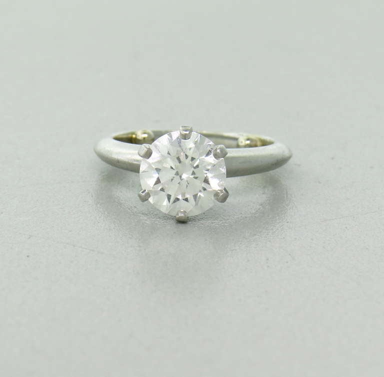 3c44b4814 Tiffany & Co platinum engagement ring 2.31ct round brilliant cut diamond .G-color